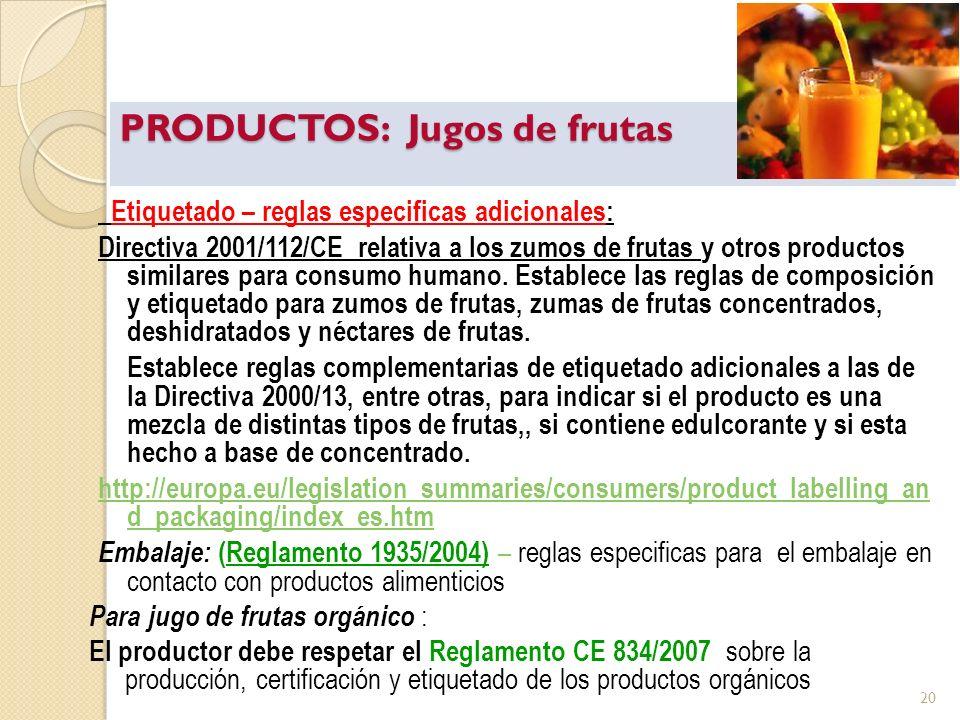 PRODUCTOS: Jugos de frutas Etiquetado – reglas especificas adicionales: Directiva 2001/112/CE relativa a los zumos de frutas y otros productos similar