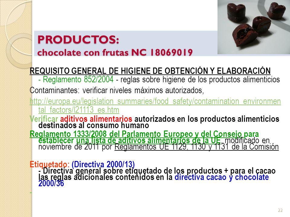 PRODUCTOS: chocolate con frutas NC 18069019 REQUISITO GENERAL DE HIGIENE DE OBTENCIÓN Y ELABORACIÓN - Reglamento 852/2004 - reglas sobre higiene de lo