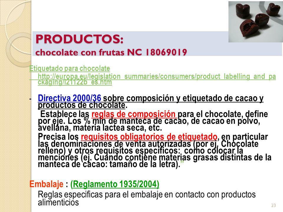 PRODUCTOS: chocolate con frutas NC 18069019 Etiquetado para chocolate http://europa.eu/legislation_summaries/consumers/product_labelling_and_pa ckagin