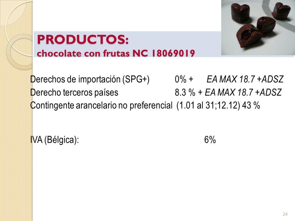 PRODUCTOS: chocolate con frutas NC 18069019 Derechos de importación (SPG+)0% + EA MAX 18.7 +ADSZ Derecho terceros países8.3 % + EA MAX 18.7 +ADSZ Cont