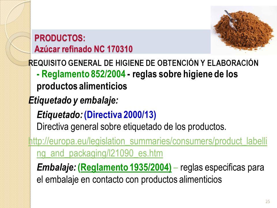 PRODUCTOS: Azúcar refinado NC 170310 REQUISITO GENERAL DE HIGIENE DE OBTENCIÓN Y ELABORACIÓN - Reglamento 852/2004 - reglas sobre higiene de los produ