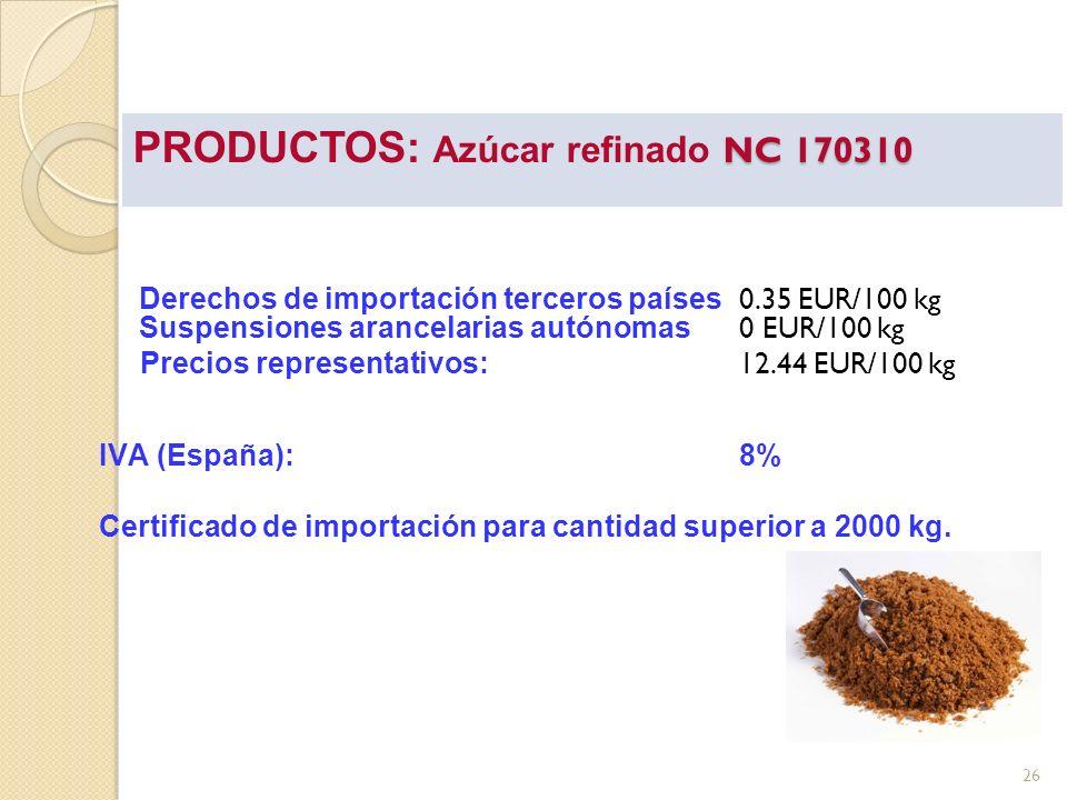 NC 170310 PRODUCTOS: Azúcar refinado NC 170310 Derechos de importación terceros países 0.35 EUR/100 kg Suspensiones arancelarias autónomas 0 EUR/100 k