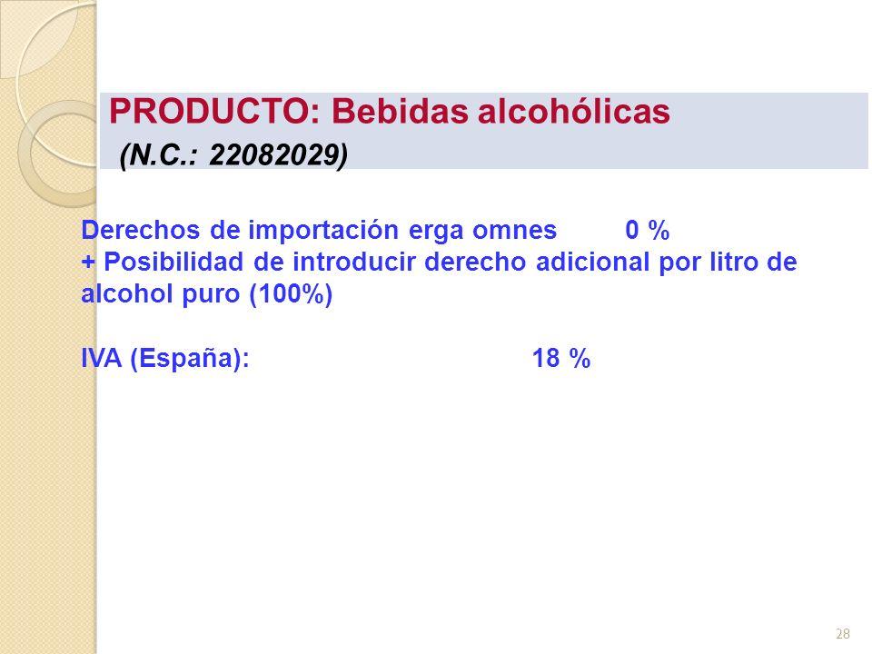 PRODUCTO: Bebidas alcohólicas (N.C.: 22082029) Derechos de importación erga omnes 0 % + Posibilidad de introducir derecho adicional por litro de alcoh