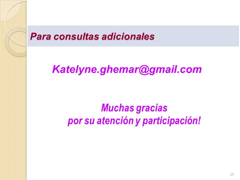 Para consultas adicionales Katelyne.ghemar@gmail.com Muchas gracias por su atención y participación! 29