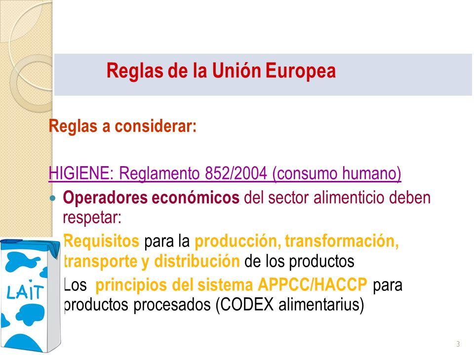 Reglas de la Unión Europea Reglas a considerar: HIGIENE: Reglamento 852/2004 (consumo humano) Operadores económicos del sector alimenticio deben respe