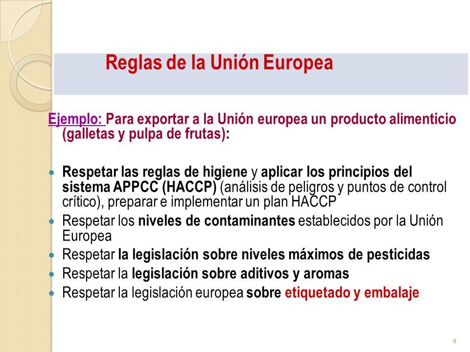 Reglas de la Unión Europea Ejemplo: Para exportar a la Unión Europea un producto alimenticio (galletas y pulpa de frutas): Etiquetado obligatorio: Buscar Reglas generales: Directiva 2000/13 Buscar si HAY reglas especificas (por tipo de producto o tratamiento ( Congelado) o función (de dieta) Otros requisitos (lote) Normas de calidad, normas de comercialización CE Etiquetado voluntario: Propiedades nutritivas, propiedades saludables, orgánico.