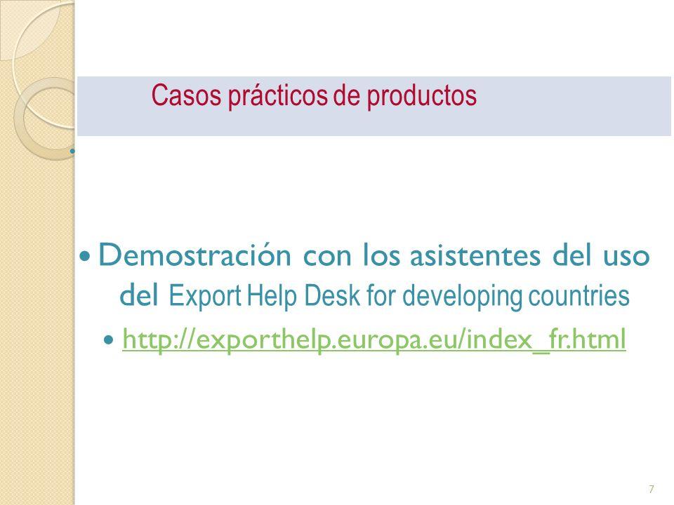 Casos prácticos de productos Demostración con los asistentes del uso del Export Help Desk for developing countries http://exporthelp.europa.eu/index_f