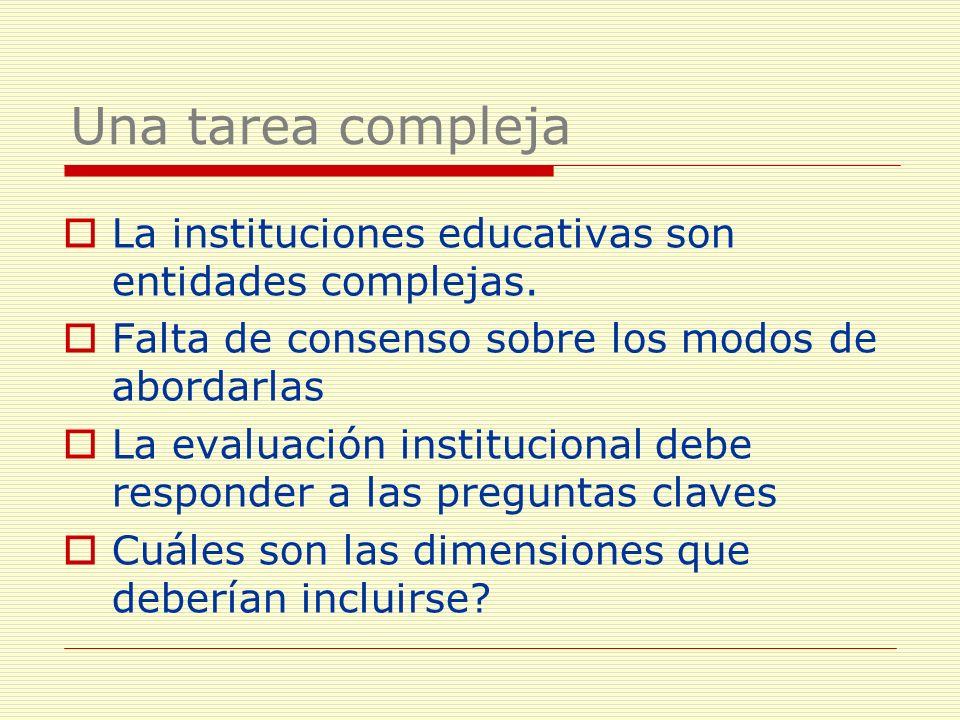 La instituciones educativas son entidades complejas. Falta de consenso sobre los modos de abordarlas La evaluación institucional debe responder a las