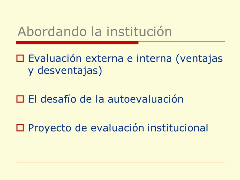 Evaluación externa e interna (ventajas y desventajas) El desafío de la autoevaluación Proyecto de evaluación institucional Abordando la institución