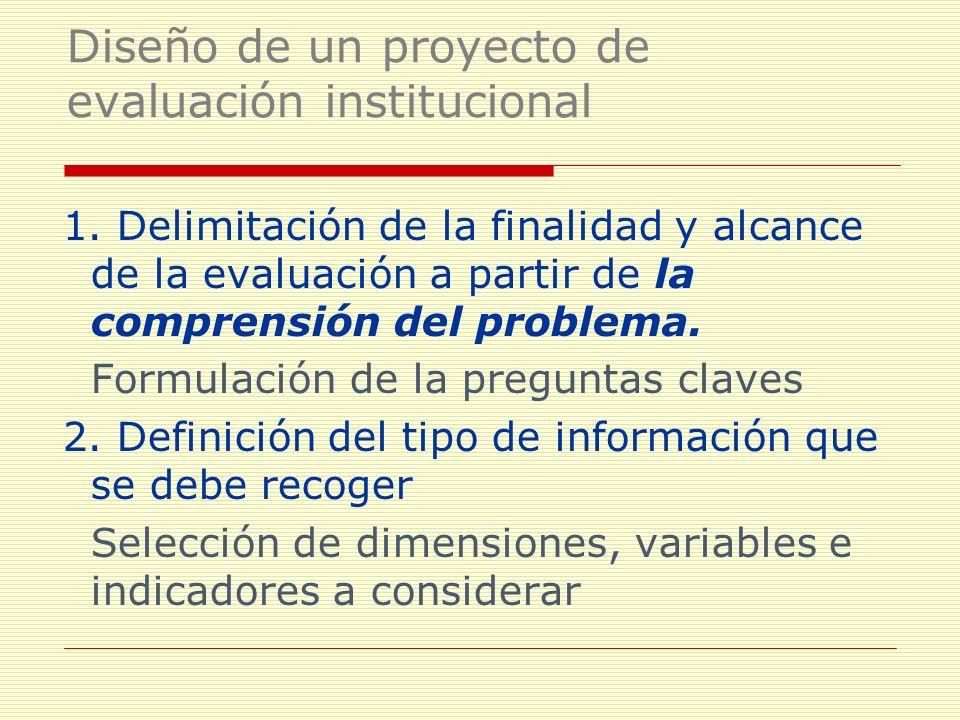 1. Delimitación de la finalidad y alcance de la evaluación a partir de la comprensión del problema. Formulación de la preguntas claves 2. Definición d