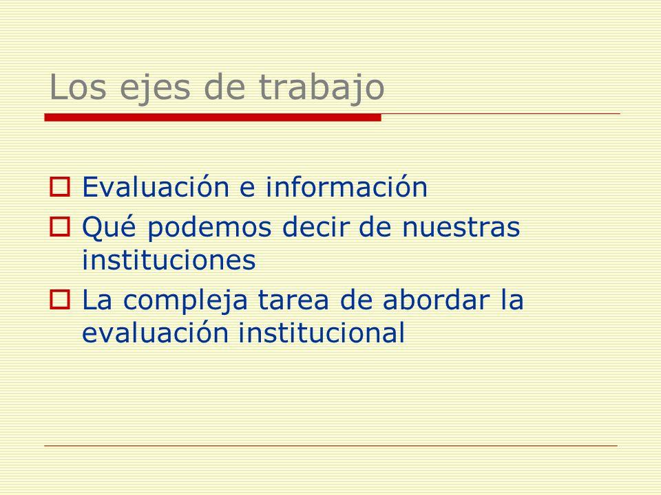 Los ejes de trabajo Evaluación e información Qué podemos decir de nuestras instituciones La compleja tarea de abordar la evaluación institucional