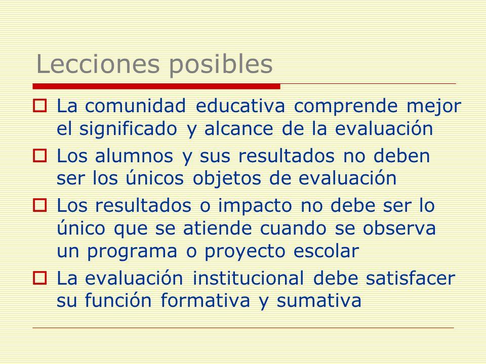 La comunidad educativa comprende mejor el significado y alcance de la evaluación Los alumnos y sus resultados no deben ser los únicos objetos de evalu