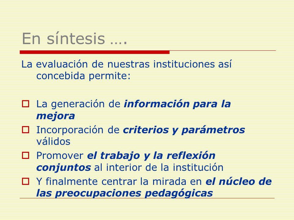En síntesis …. La evaluación de nuestras instituciones así concebida permite: La generación de información para la mejora Incorporación de criterios y