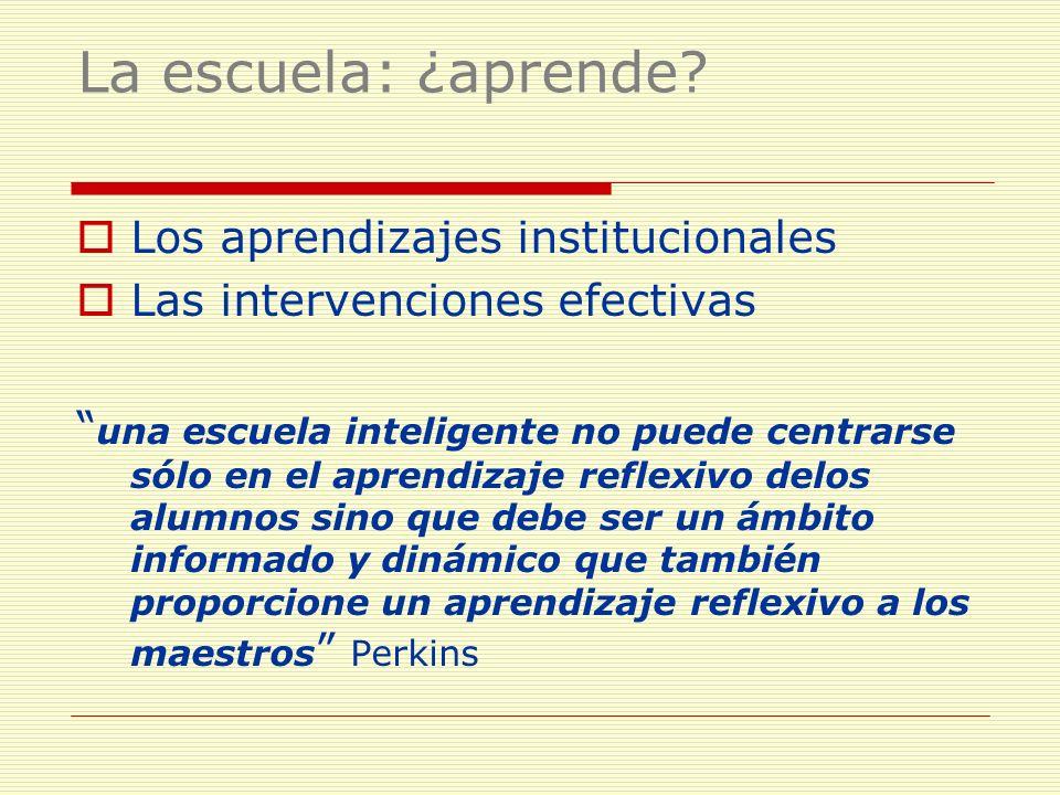 La escuela: ¿aprende? Los aprendizajes institucionales Las intervenciones efectivas una escuela inteligente no puede centrarse sólo en el aprendizaje
