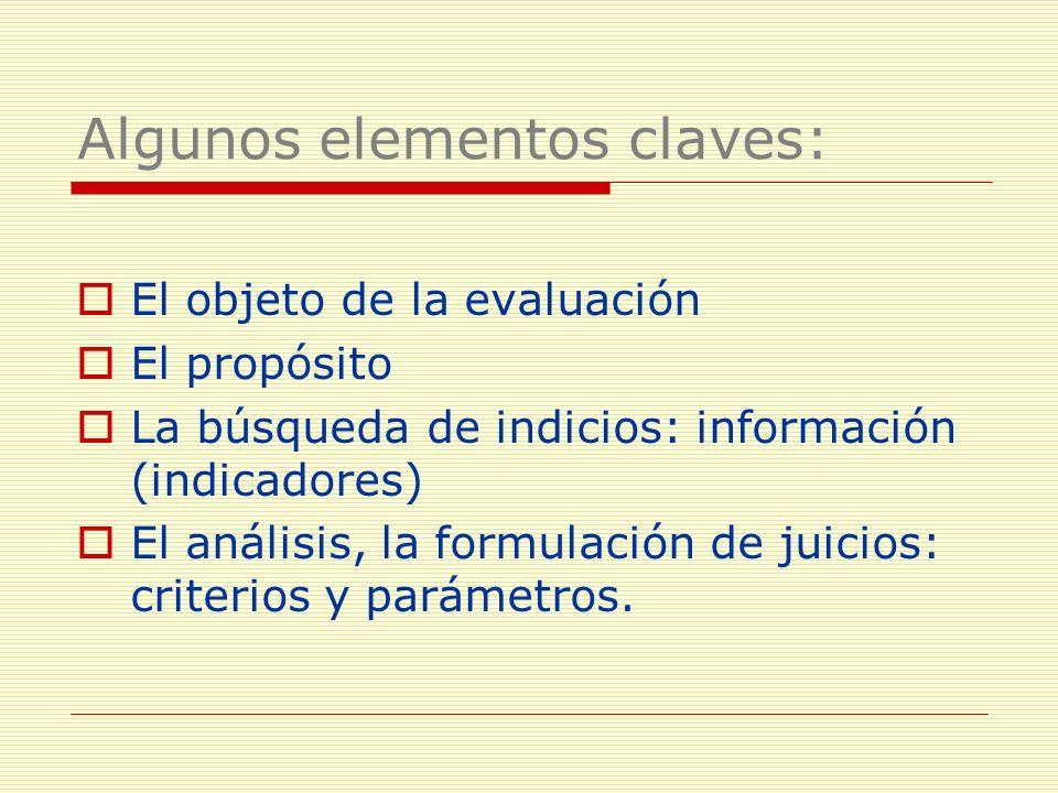 Algunos elementos claves: El objeto de la evaluación El propósito La búsqueda de indicios: información (indicadores) El análisis, la formulación de ju