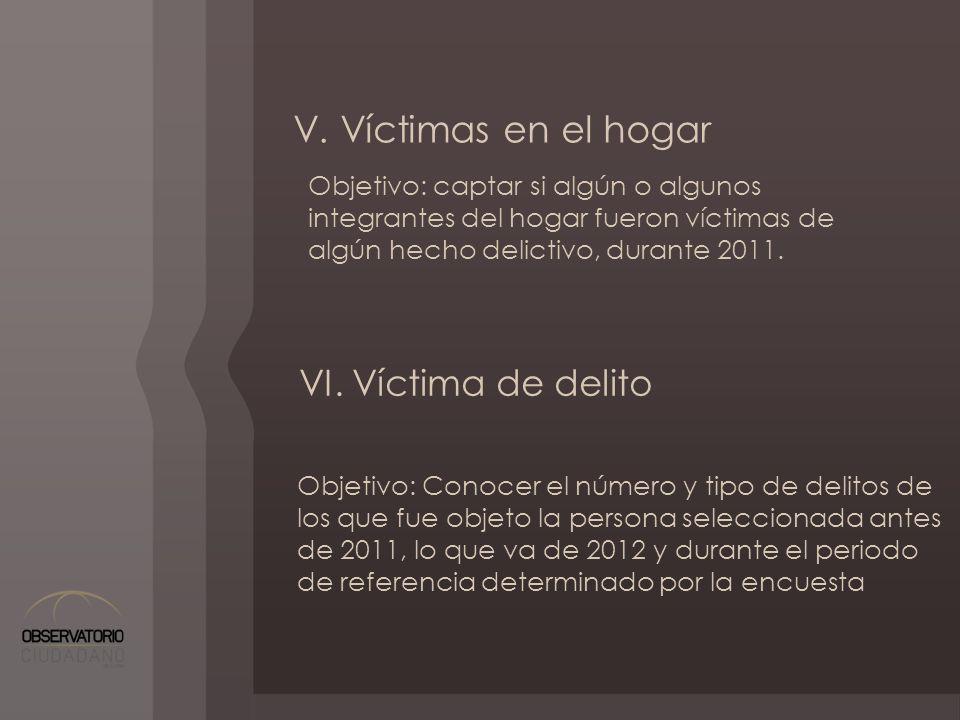 V. Víctimas en el hogar Objetivo: captar si algún o algunos integrantes del hogar fueron víctimas de algún hecho delictivo, durante 2011. VI. Víctima