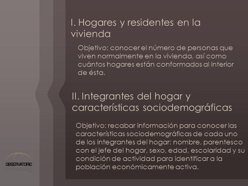 I. Hogares y residentes en la vivienda Objetivo: conocer el número de personas que viven normalmente en la vivienda, así como cuántos hogares están co