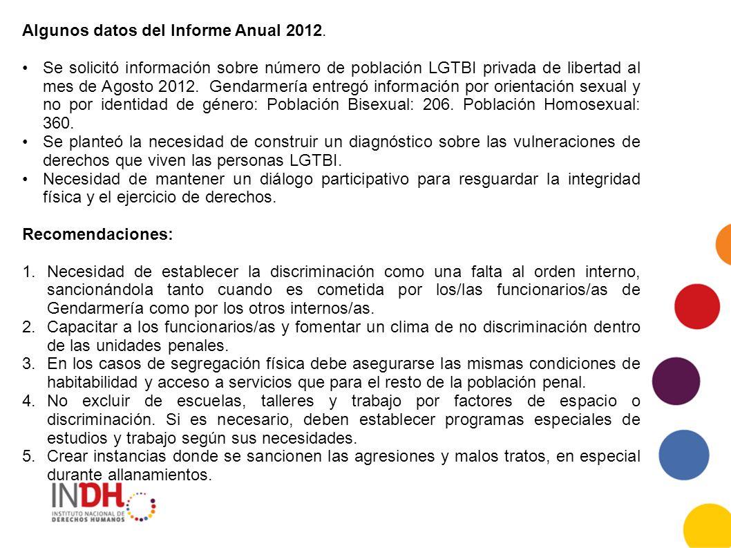 Algunos datos del Informe Anual 2012. Se solicitó información sobre número de población LGTBI privada de libertad al mes de Agosto 2012. Gendarmería e