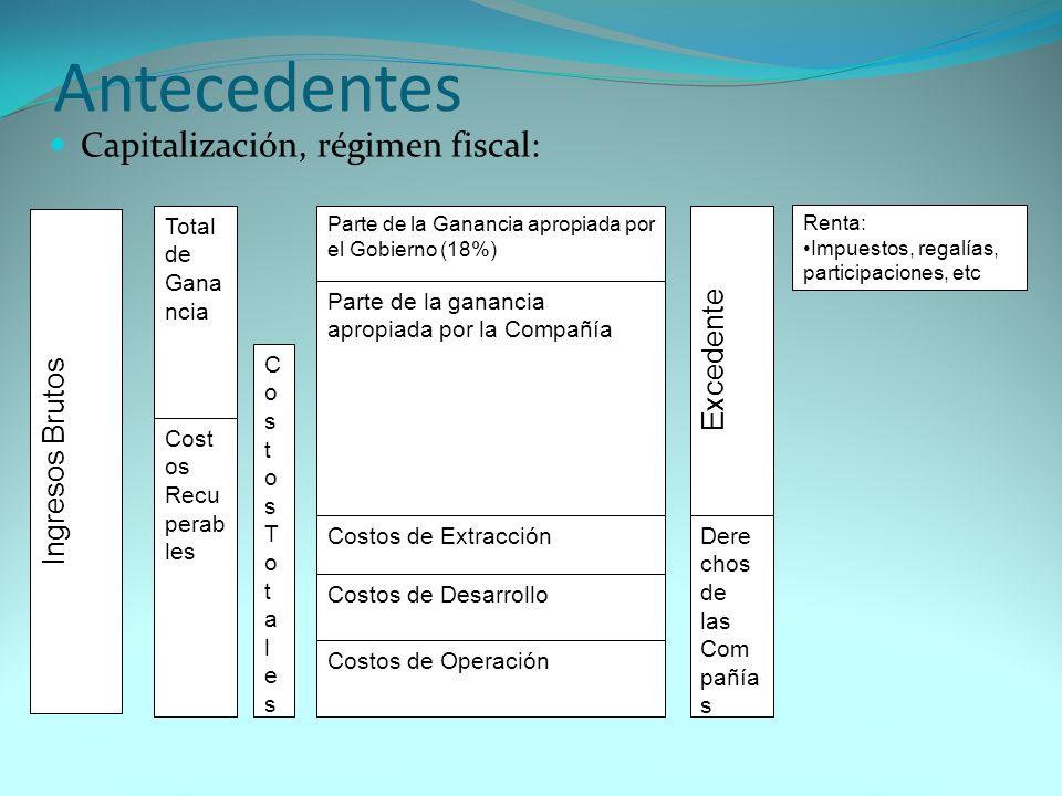 Antecedentes Capitalización, régimen fiscal: Ingresos Brutos Parte de la Ganancia apropiada por el Gobierno (18%) Parte de la ganancia apropiada por l