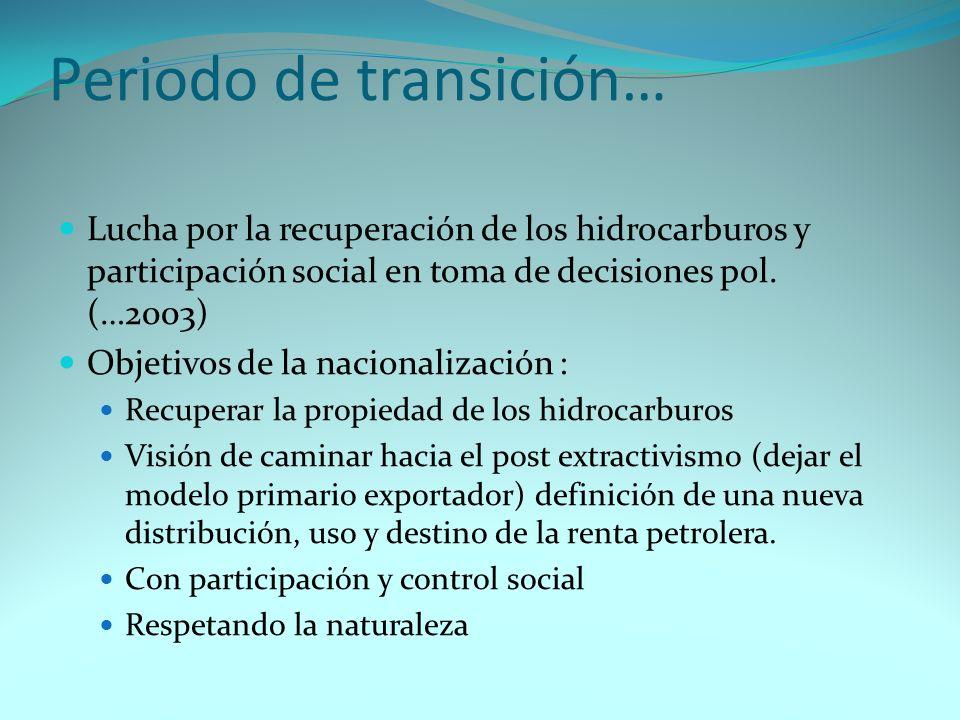 Nuevo Régimen de Hidrocarburos Características del nuevo régimen: Vital: recuperar la propiedad de los hidrocarburos Los hidrocarburos, cualquiera sea el estado en el que se encuentren, o la forma en la que se presenten, son de propiedad inalienable e imprescriptible del pueblo boliviano… (CPE, art.