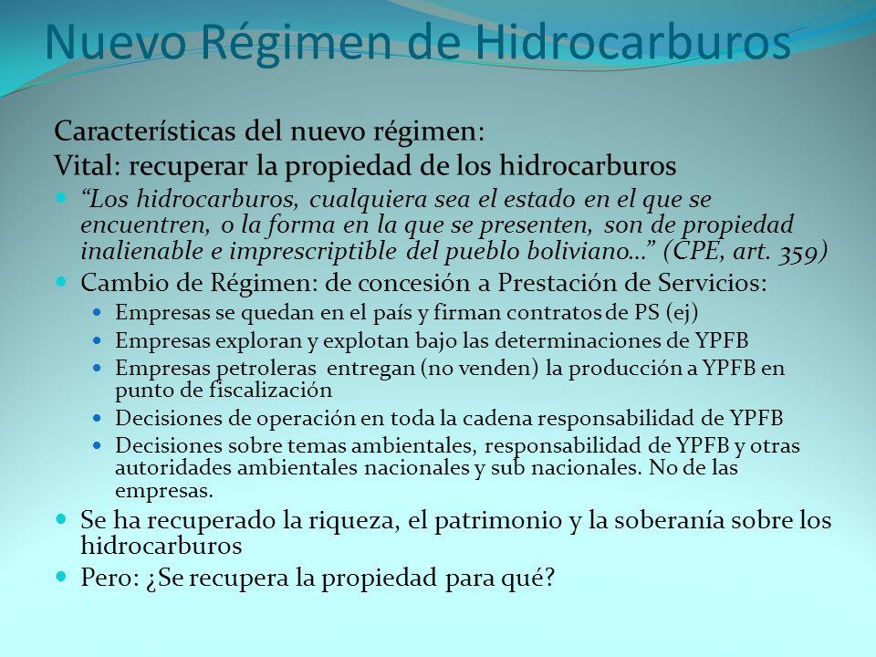Nuevo Régimen de Hidrocarburos Características del nuevo régimen: Vital: recuperar la propiedad de los hidrocarburos Los hidrocarburos, cualquiera sea