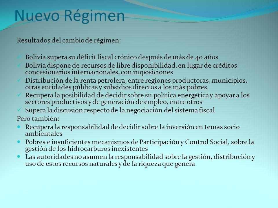 Nuevo Régimen Resultados del cambio de régimen: Bolivia supera su déficit fiscal crónico después de más de 40 años Bolivia dispone de recursos de libr