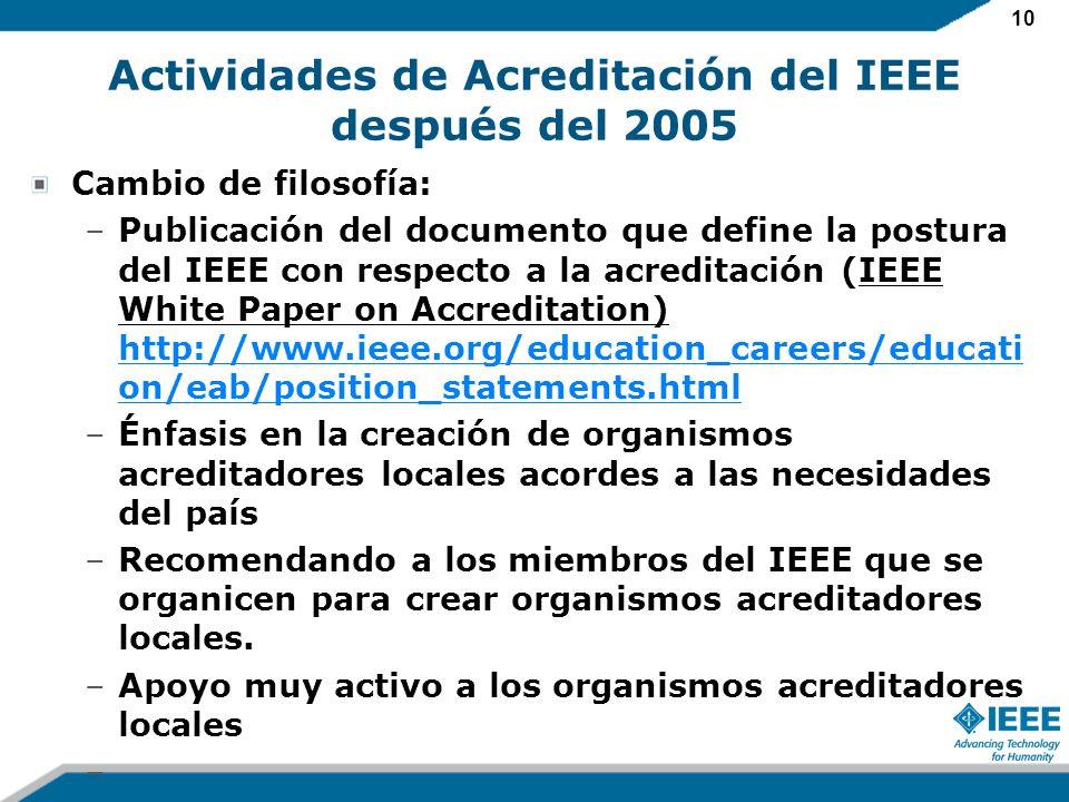 10 Actividades de Acreditación del IEEE después del 2005 Cambio de filosofía: –Publicación del documento que define la postura del IEEE con respecto a