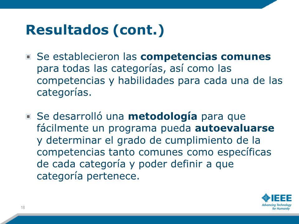 Resultados (cont.) Se establecieron las competencias comunes para todas las categorías, así como las competencias y habilidades para cada una de las c