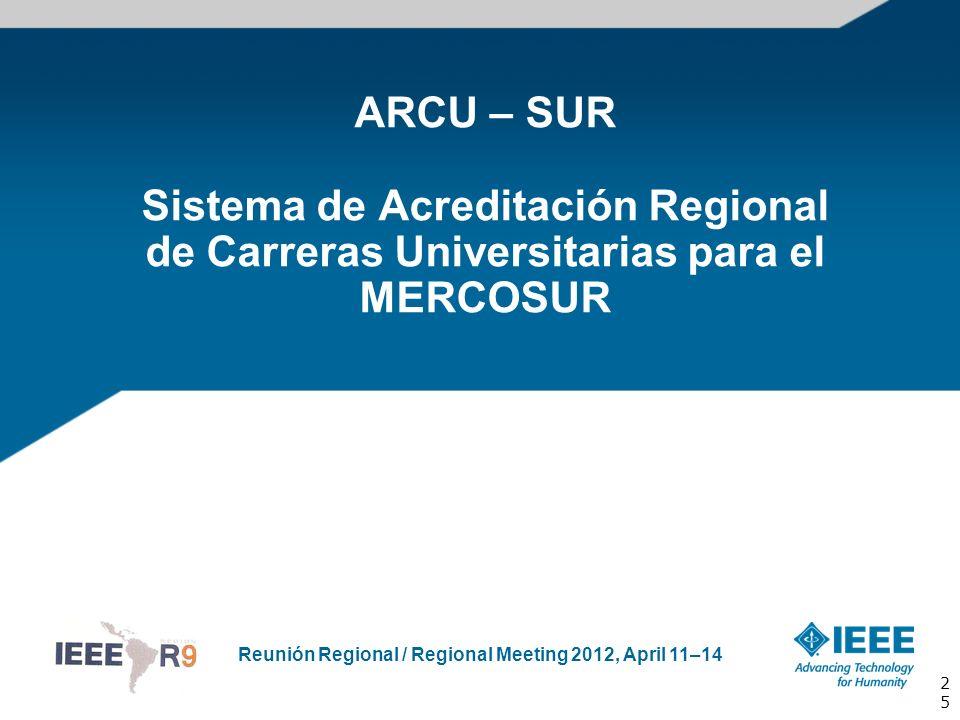 Reunión Regional / Regional Meeting 2012, April 11–14 ARCU – SUR Sistema de Acreditación Regional de Carreras Universitarias para el MERCOSUR 25