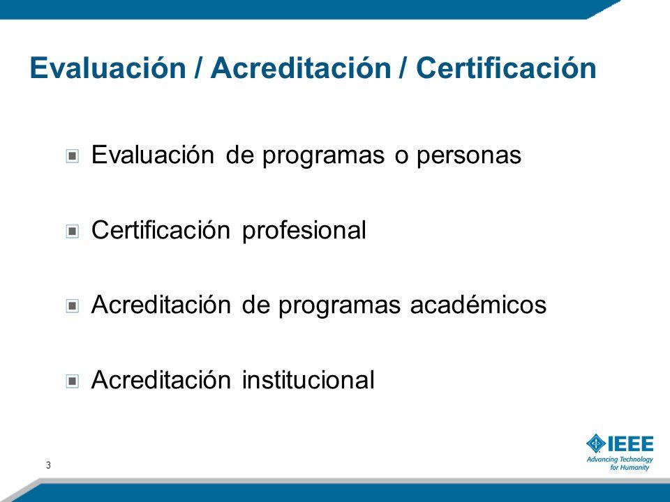3 Evaluación de programas o personas Certificación profesional Acreditación de programas académicos Acreditación institucional Evaluación / Acreditaci