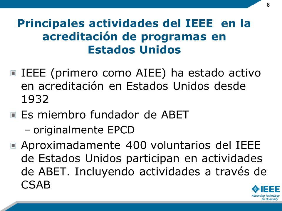8 Principales actividades del IEEE en la acreditación de programas en Estados Unidos IEEE (primero como AIEE) ha estado activo en acreditación en Estados Unidos desde 1932 Es miembro fundador de ABET –originalmente EPCD Aproximadamente 400 voluntarios del IEEE de Estados Unidos participan en actividades de ABET.