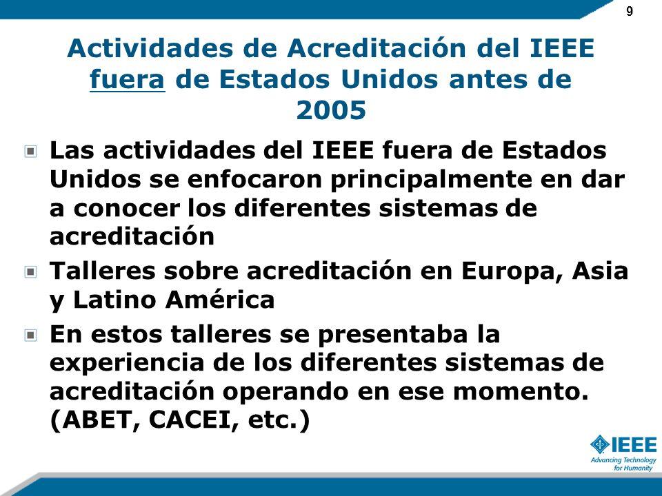 9 Actividades de Acreditación del IEEE fuera de Estados Unidos antes de 2005 Las actividades del IEEE fuera de Estados Unidos se enfocaron principalmente en dar a conocer los diferentes sistemas de acreditación Talleres sobre acreditación en Europa, Asia y Latino América En estos talleres se presentaba la experiencia de los diferentes sistemas de acreditación operando en ese momento.