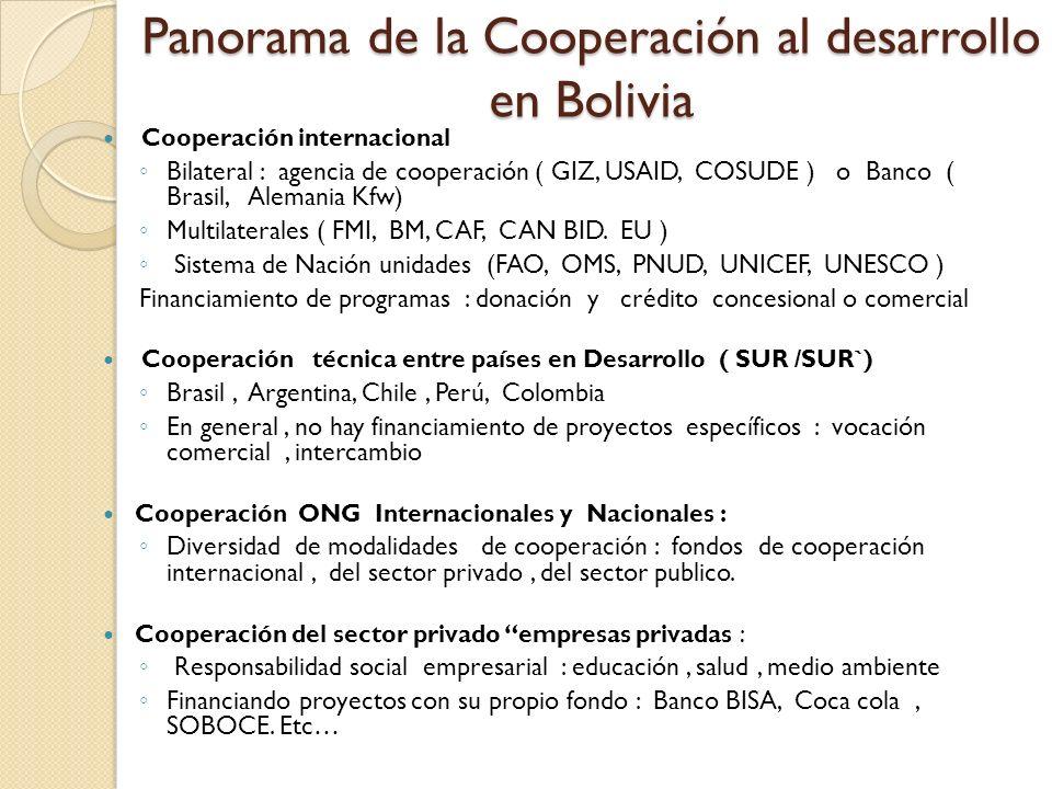 Panorama de la Cooperación al desarrollo en Bolivia Cooperación internacional Bilateral : agencia de cooperación ( GIZ, USAID, COSUDE ) o Banco ( Bras