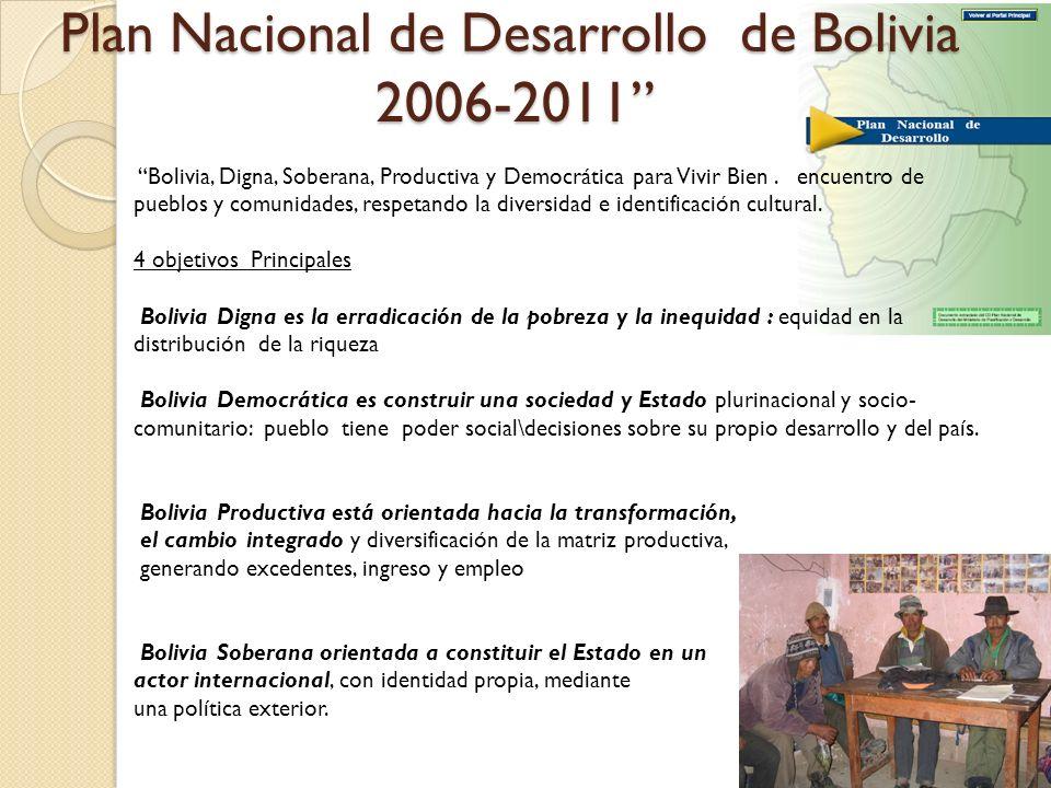 Plan Nacional de Desarrollo de Bolivia 2006-2011 Bolivia, Digna, Soberana, Productiva y Democrática para Vivir Bien. encuentro de pueblos y comunidade