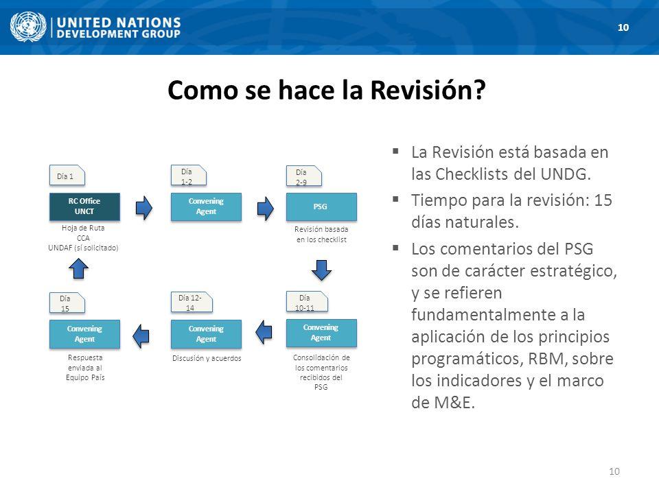 La Revisión está basada en las Checklists del UNDG.