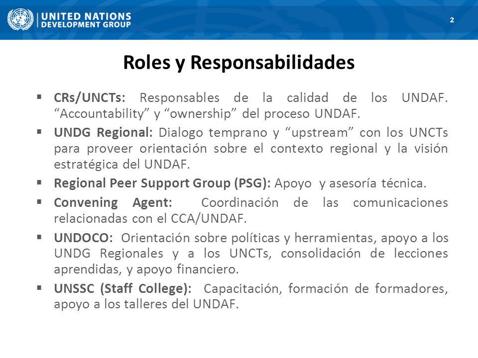 Roles y Responsabilidades 2 CRs/UNCTs: Responsables de la calidad de los UNDAF.