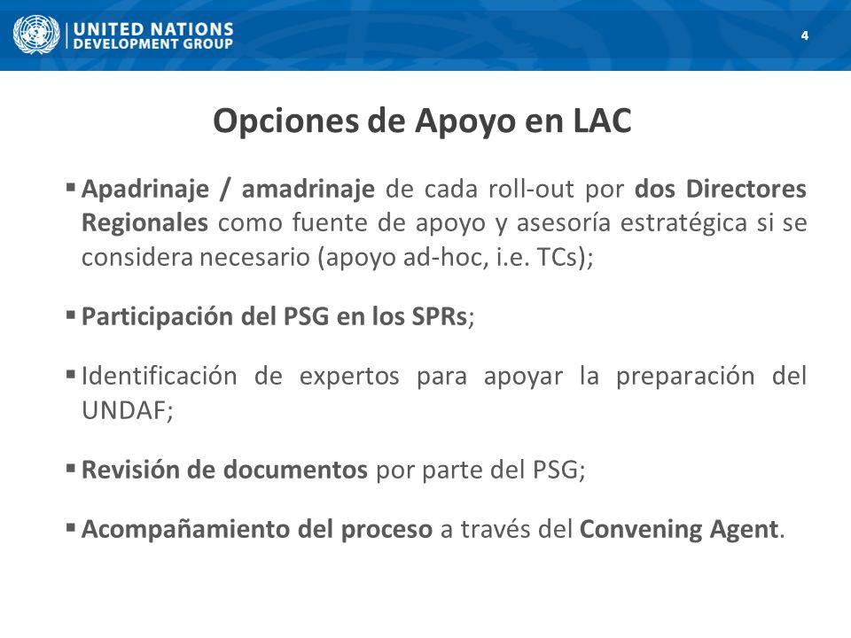 Opciones de Apoyo en LAC 4 Apadrinaje / amadrinaje de cada roll-out por dos Directores Regionales como fuente de apoyo y asesoría estratégica si se considera necesario (apoyo ad-hoc, i.e.