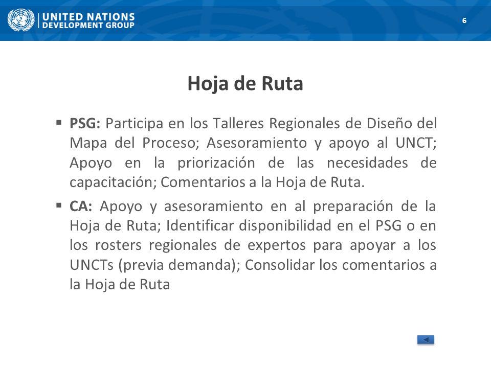 Hoja de Ruta PSG: Participa en los Talleres Regionales de Diseño del Mapa del Proceso; Asesoramiento y apoyo al UNCT; Apoyo en la priorización de las necesidades de capacitación; Comentarios a la Hoja de Ruta.