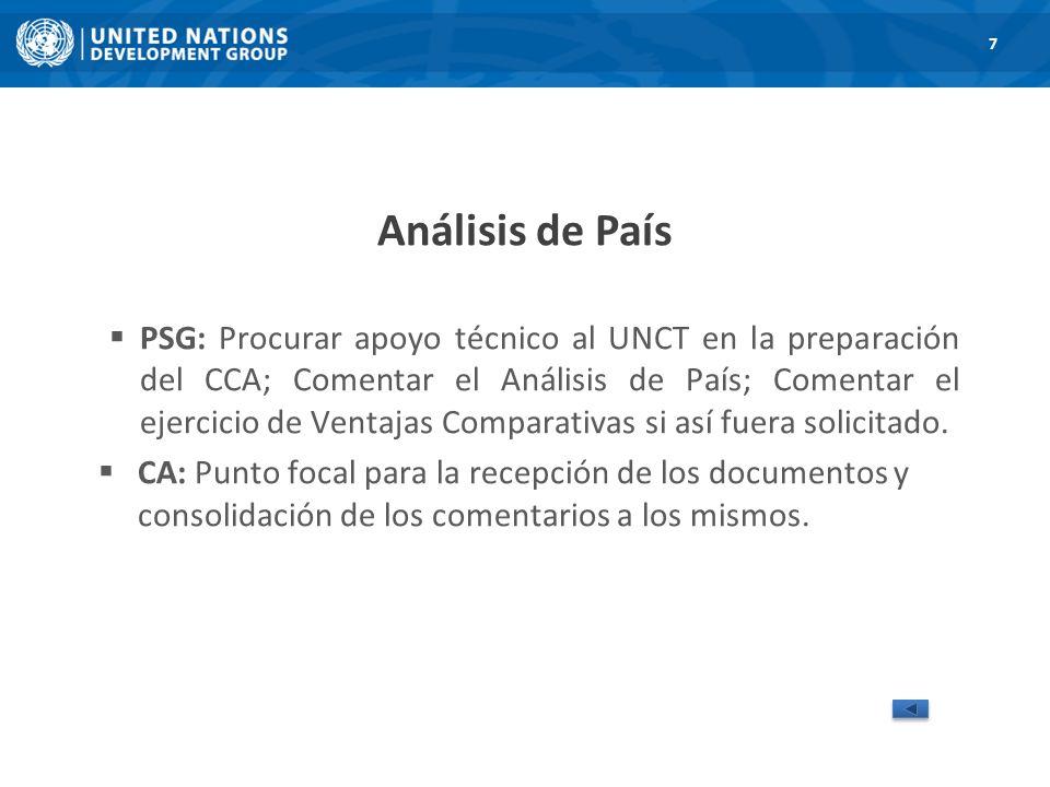 Análisis de País PSG: Procurar apoyo técnico al UNCT en la preparación del CCA; Comentar el Análisis de País; Comentar el ejercicio de Ventajas Comparativas si así fuera solicitado.