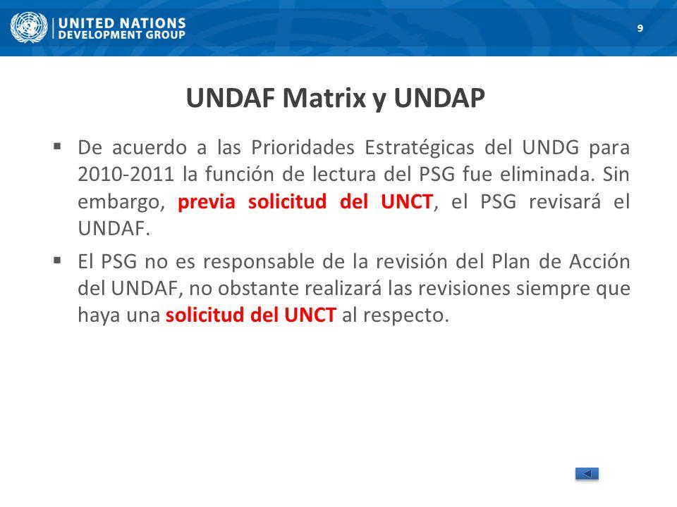UNDAF Matrix y UNDAP De acuerdo a las Prioridades Estratégicas del UNDG para 2010-2011 la función de lectura del PSG fue eliminada.