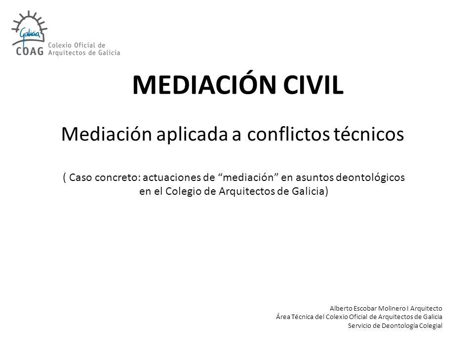 ÍNDICE A.MARCO LEGAL B.ACTUACIONES COLEGIALES C.PROBLEMÁTICA JORNADA TÉCNICA SOBRE MEDIACIÓN.