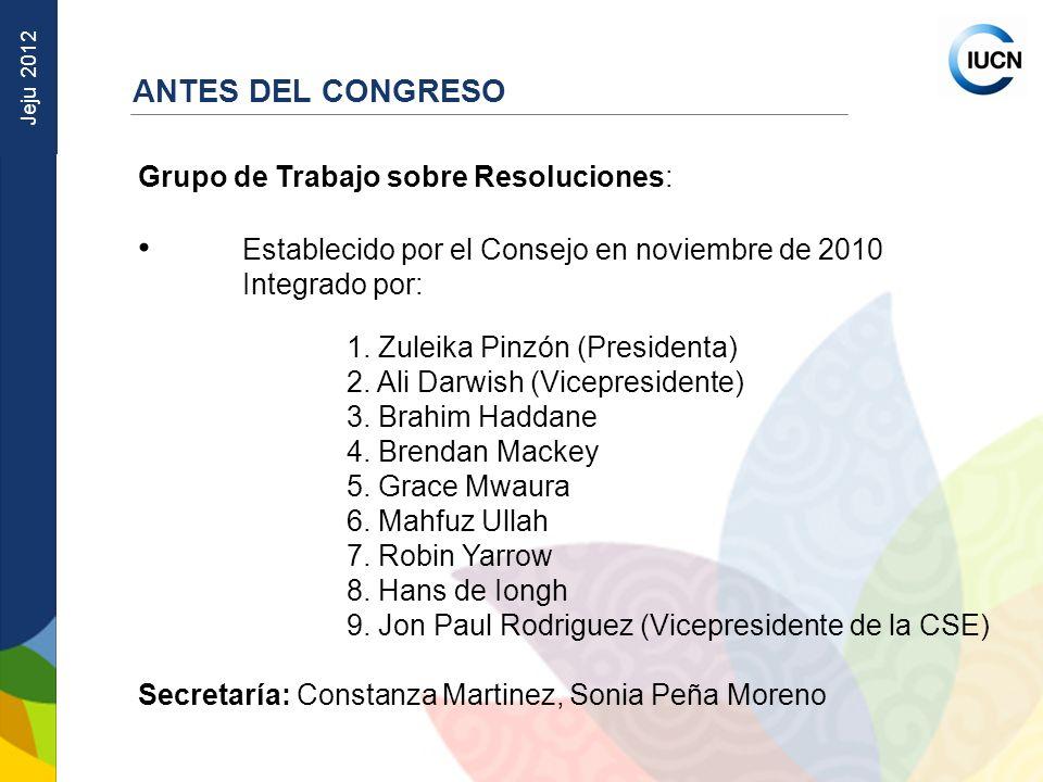 Jeju 2012 Grupo de Trabajo sobre Resoluciones: Establecido por el Consejo en noviembre de 2010 Integrado por: 1. Zuleika Pinzón (Presidenta) 2. Ali Da