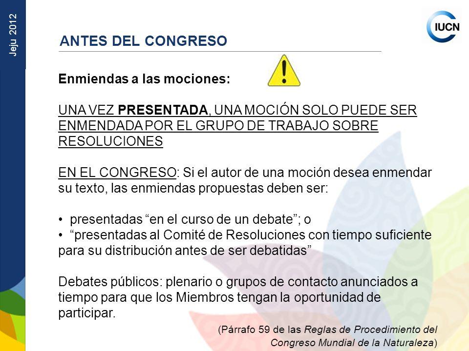 Jeju 2012 Enmiendas a las mociones: UNA VEZ PRESENTADA, UNA MOCIÓN SOLO PUEDE SER ENMENDADA POR EL GRUPO DE TRABAJO SOBRE RESOLUCIONES EN EL CONGRESO: