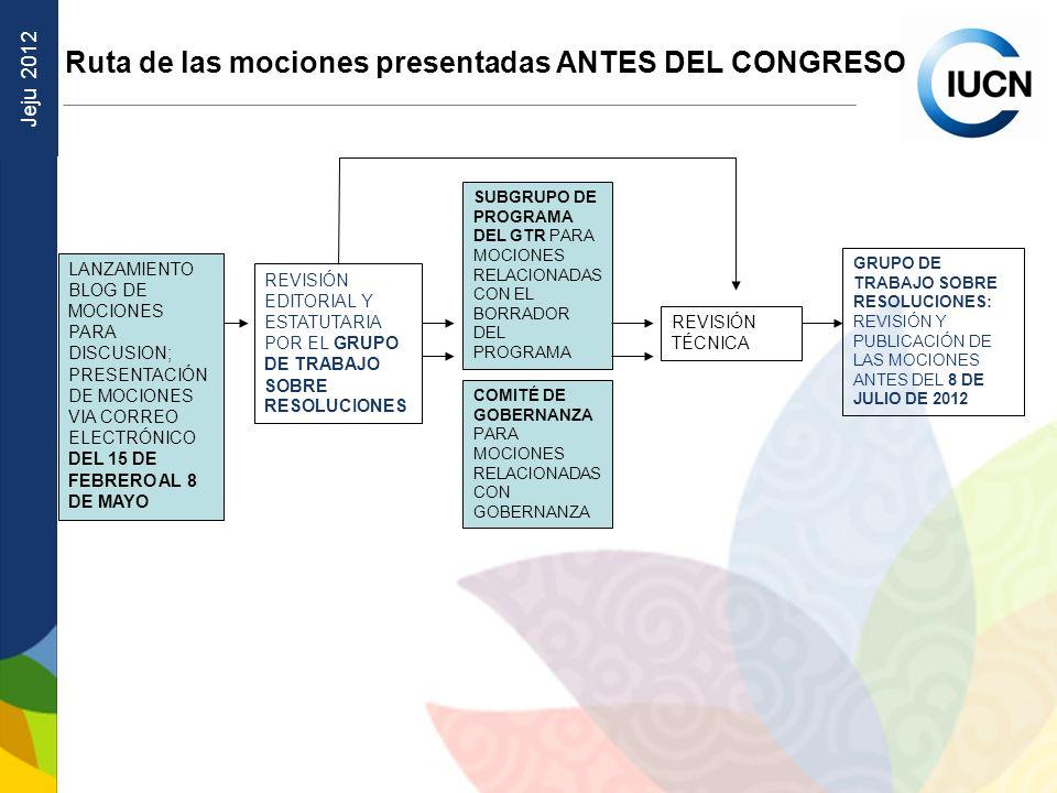 Jeju 2012 Ruta de las mociones presentadas ANTES DEL CONGRESO LANZAMIENTO BLOG DE MOCIONES PARA DISCUSION; PRESENTACIÓN DE MOCIONES VIA CORREO ELECTRÓ