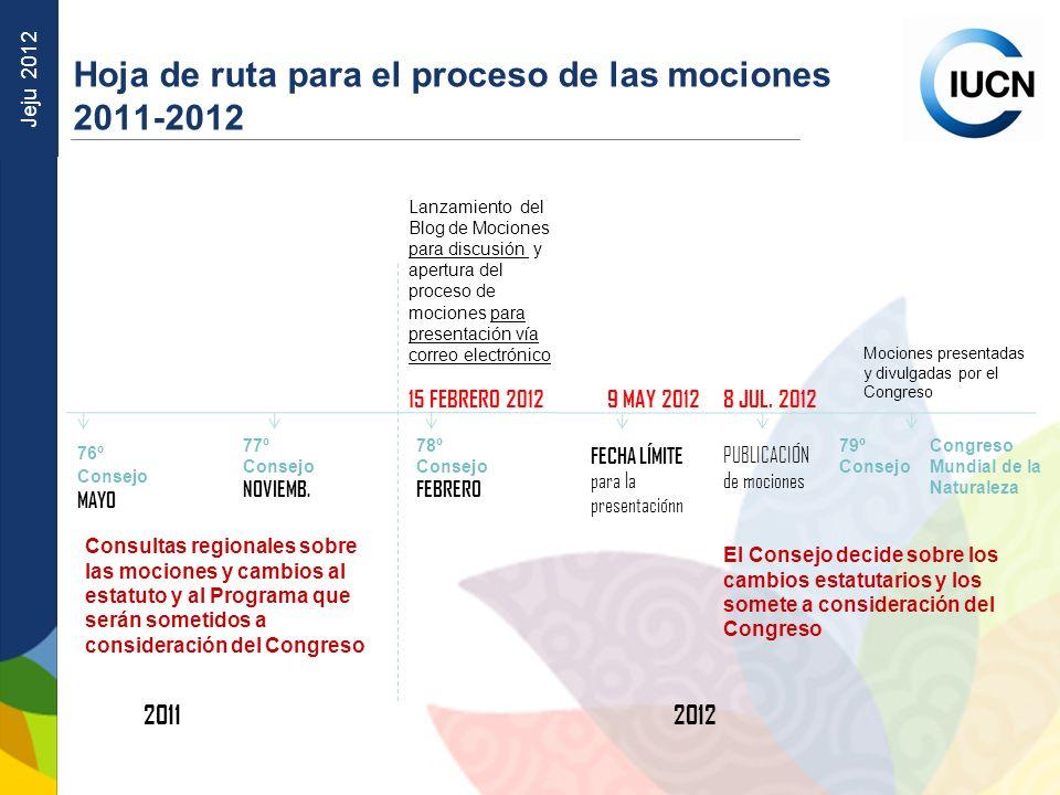 Jeju 2012 Hoja de ruta para el proceso de las mociones 2011-2012 76º Consejo MAYO 77º Consejo NOVIEMB. 78º Consejo FEBRERO 79º Consejo 20112012 Mocion