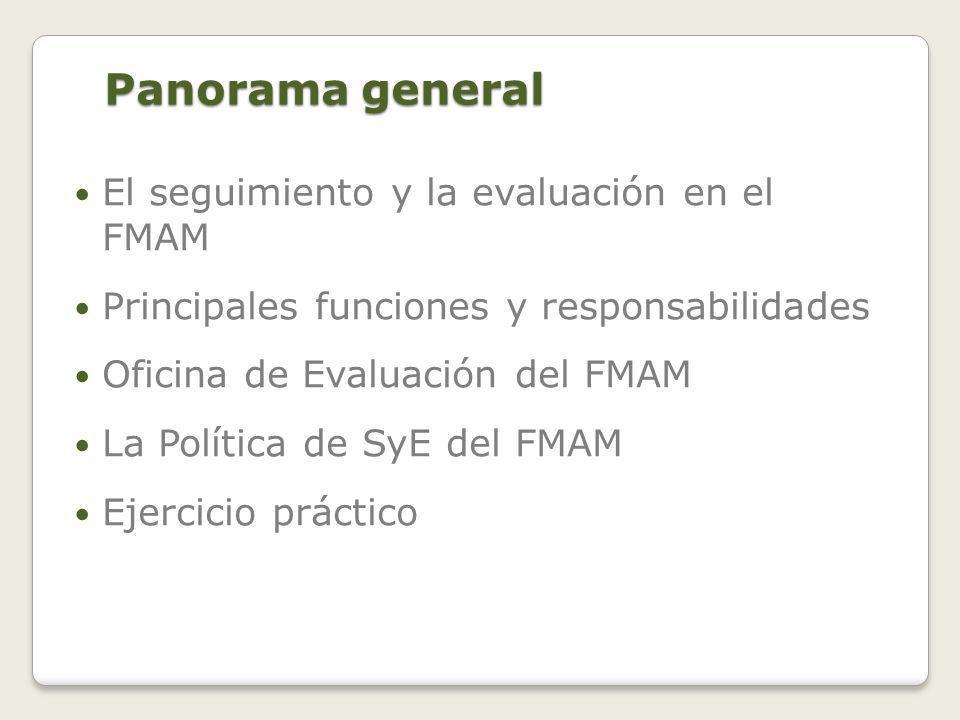 El SyE en el FMAM DOS OBJETIVOS FUNDAMENTALES: Promover la responsabilidad y la rendición de cuentas sobre el logro de los objetivos del FMAM mediante la evaluación de los resultados, la eficacia, los procesos y el desempeño de los asociados que participan en actividades del FMAM.
