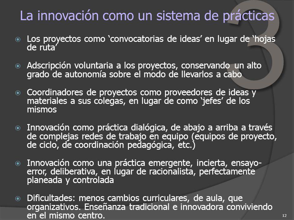 3 12 La innovación como un sistema de prácticas Los proyectos como convocatorias de ideas en lugar de hojas de ruta Adscripción voluntaria a los proye