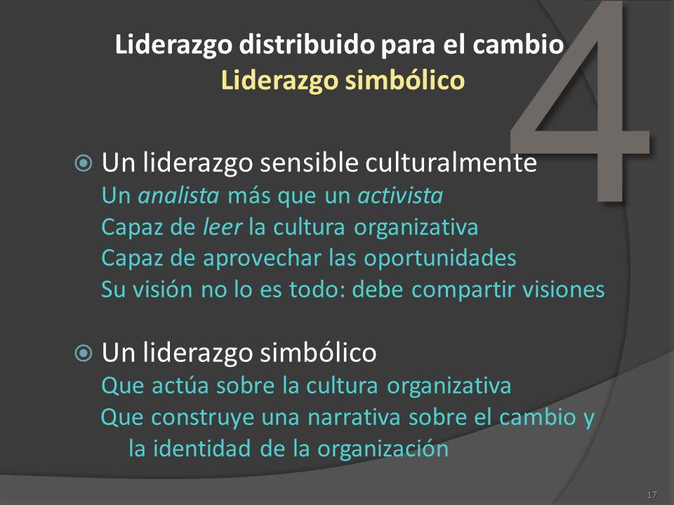4 17 Liderazgo distribuido para el cambio Liderazgo simbólico Un liderazgo sensible culturalmente Un analista más que un activista Capaz de leer la cu