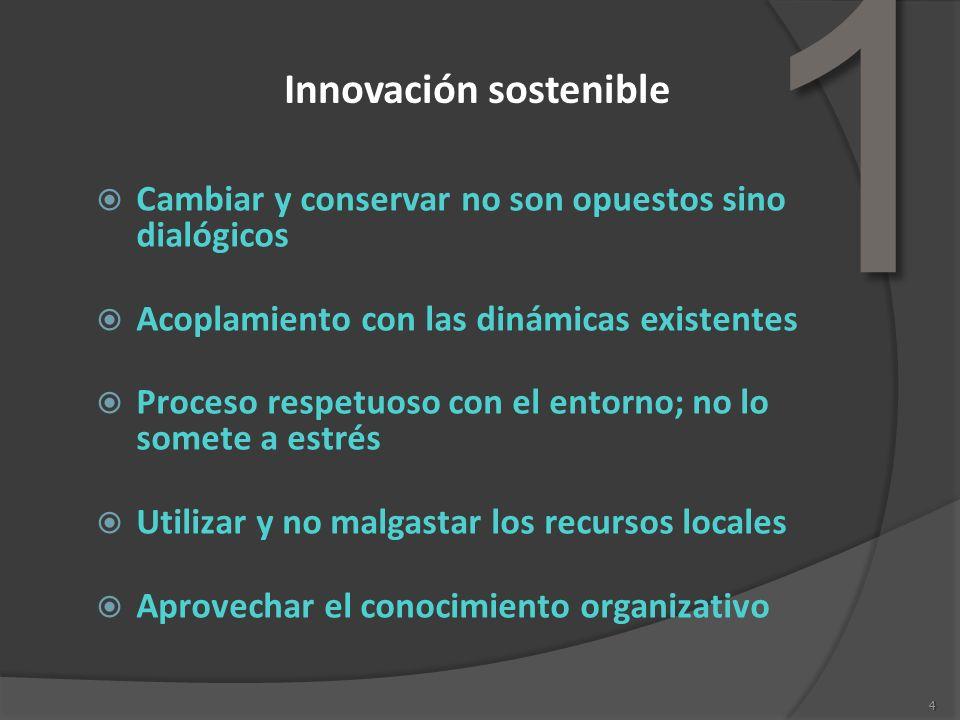 4 Innovación sostenible Cambiar y conservar no son opuestos sino dialógicos Acoplamiento con las dinámicas existentes Proceso respetuoso con el entorn
