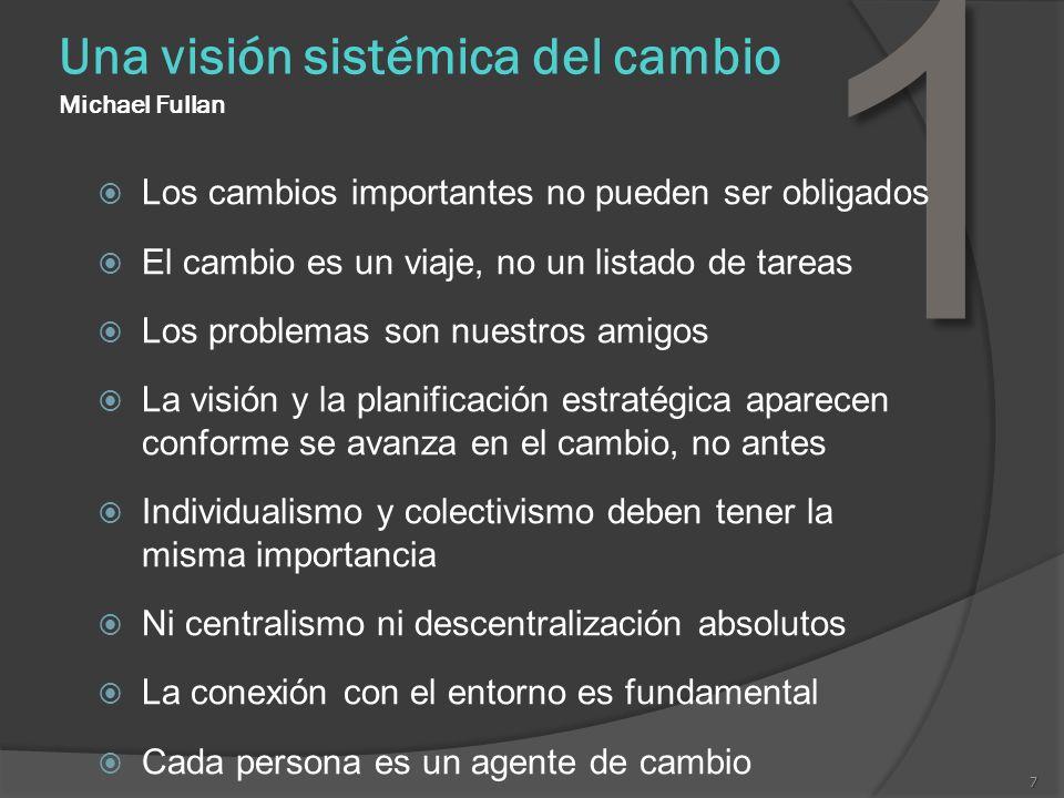 7 Una visión sistémica del cambio Michael Fullan 1 Los cambios importantes no pueden ser obligados El cambio es un viaje, no un listado de tareas Los